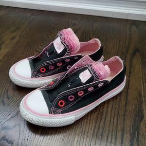 Converse Black & Pink Sneakers Size Junior 11